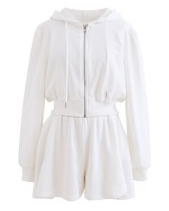 Zip Drawstring Crop Hoodie and Shorts Set in White