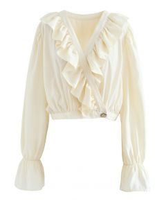 Buttoned Wrap Ruffle Crop Top in Cream