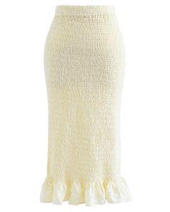 Frill Hem Full Shirring Pencil Skirt in Cream