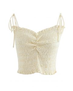 Ruched Front Shirring Crop Cami Top in Cream