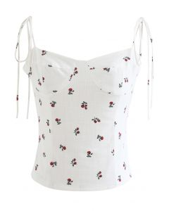 Rose Sweetheart Tie Straps Crop Cami Top