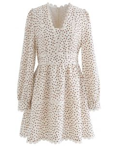 Mini Heart Printed Crochet Dress