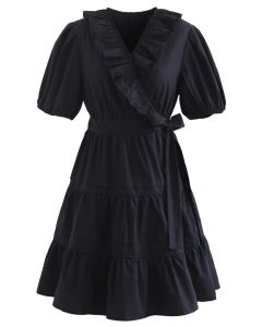 Short Sleeves Wrap Tied Ruffle Dress in Black