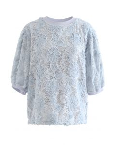 3D Sunflower Lace Top in Dusty Blue