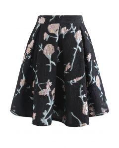 Pinky Flower Jacquard Embossed Pleated Mini Skirt