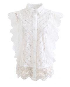 Wavy Lace Eyelet Embroidered Sleeveless Shirt in White