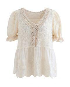 Short Sleeve Crochet Panelled Embroidered Top