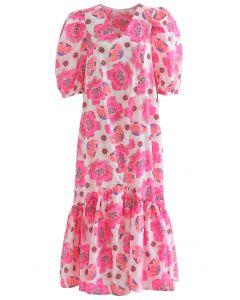 Hot Pink Blossom Bubble Sleeve Dolly Midi Dress