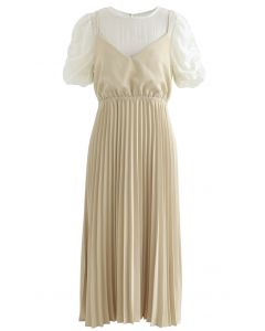 Fake Two-Piece Pleated Midi Dress in Yellow