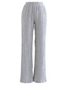 High Waist Pleated Pull-On Pants in Dusty Blue