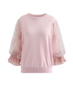 Firework Embroidered Mesh Sleeve Knit Top in Pink