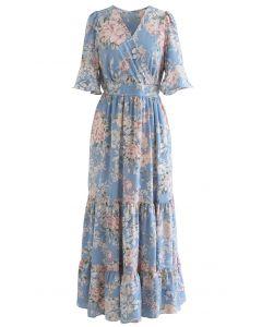 Luxuriant Flower Frilling Wrap Dress in Blue