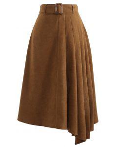 Side Pleats Belted Asymmetric Midi Skirt in Caramel