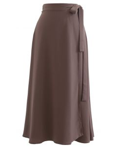 Tie Waist Wrap Midi Skirt in Brown