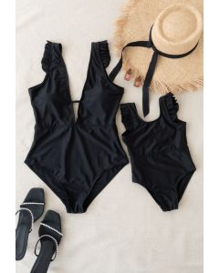 Solid Black Ruffle Detail Swimsuit for Mommy & Kids