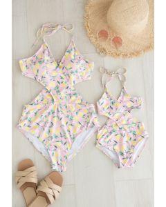 Lemon Print Halter Neck Swimsuit for Mommy & Kids