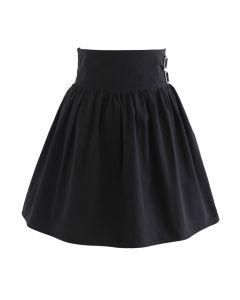 Dual Belt Trim Pleated Mini Skirt in Black