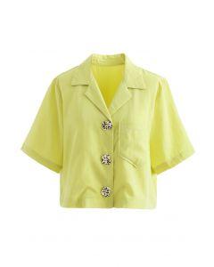 Notch Lapel Pocket Buttoned Crop Shirt in Yellow