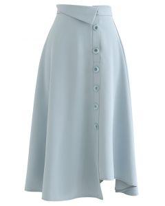 Button Decorated Asymmetric Midi Skirt in Light Blue