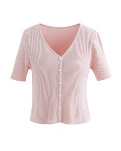 Buttoned V-Neck Short Sleeve Rib Knit Top in Pink