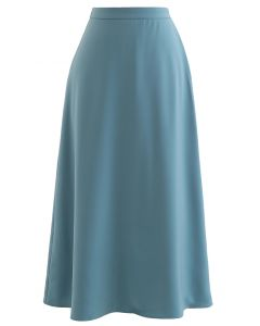 Basic Smooth A-Line Midi Skirt in Teal