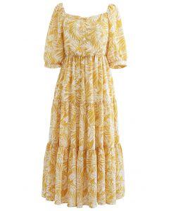 Mustard Palm Leaf Print Frilling Midi Dress