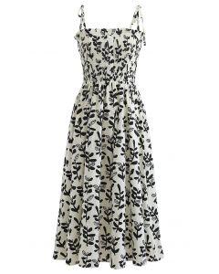 Tie Shoulder Floral Shirred Midi Dress in Black