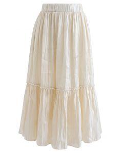 Shimmer Satin Pearly Midi Skirt in Cream