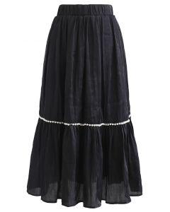 Shimmer Satin Pearly Midi Skirt in Black