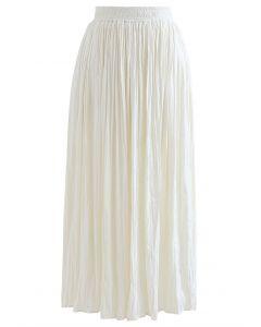Natural Simplicity Full Pleated Midi Skirt in Cream
