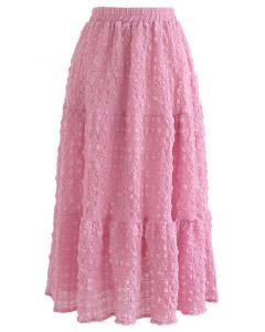 Full of Embossing Frill Hem Midi Skirt in Hot Pink