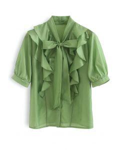 Flowy Ruffle Bow Neck Mid Sleeve Shirt in Green