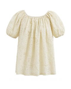Flower Vibe Embossed Off-Shoulder Top in Yellow