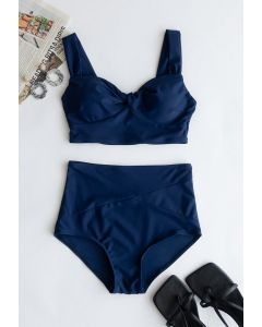 Twist Front High-Waisted Bikini Set in Navy