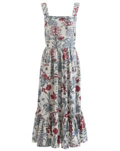 Natural Narcissus Printed Linen-Blend Dress