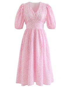Bubble Printed Tie Waist Midi Dress in Pink