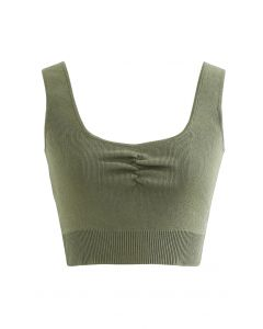 Ruched Front Knit Crop Tank Top in Army Green