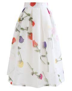 Rose Impression Printed Organza Pleated Midi Skirt