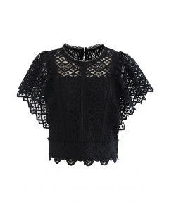 Ruffle Sleeves Full Crochet Crop Top in Black