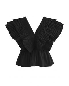 Pleated Ruffle Buttoned Deep V-Neck Crop Top in Black