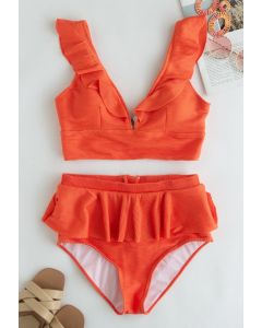 Zippered Back Ruffle Bikini Set in Orange