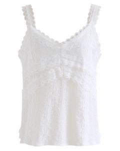 Lacy Cotton Blend Cami Tank Top in White
