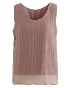 Lightsome Mesh Tank Top in Rust Red
