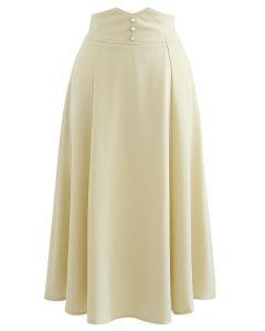 Pearly Waist Seam Detail Flare Midi Skirt in Light Yellow