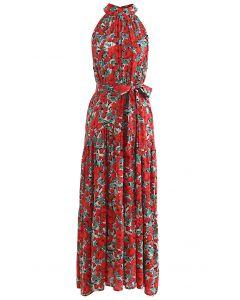 Red Floral Halter Neck Sleeveless Dress