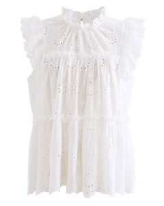 Eyelet Embroidered Flared Sleeveless Top in White