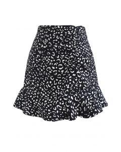 Leopard Frill Hem Ruched Front Mini Skirt in Black