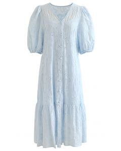 Button Down Bubble Sleeve Embroidered Dolly Dress in Blue