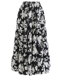 Flowery Sketch Frilling Maxi Skirt in Black