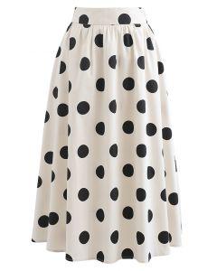 Polka Dot Print A-Line Midi Skirt in Cream